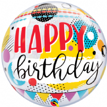 "Birthday Circles & Dot Patterns Bubble Balloon (22"") 1pc"